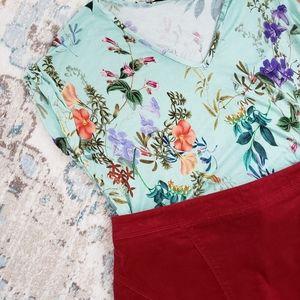 Lane Bryant Ruby Red Corduroy Skirt 14